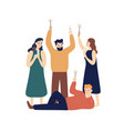 people celebrating new year flat vector image