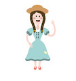 pretty woman with hat and dress vector image vector image