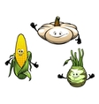 Pumpkin corn and turnip cartoon vegetables vector image vector image