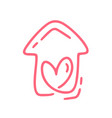 red monoline cute house with heart vector image
