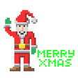 retro pixel art christmas santa vector image