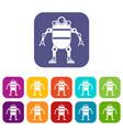 robot icons set flat vector image vector image