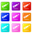 screwdrive icons set 9 color collection vector image vector image