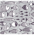 seamless pattern with hand drawn funny fishes vector image