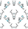 Seamless pattern with stylized buffalo skull and vector image