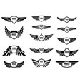 set blank emblems with wings design elements vector image vector image