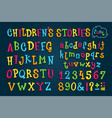 set colored font childrens stories vector image