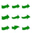 set of nine green various arrows vector image