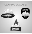 Set of silver outdoor adventure badges and vector image