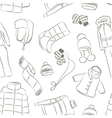 Set of warm winter clothes design pattern vector image vector image