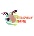 simple logo design a moose head inside vector image