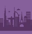 skyline global towers airplane architecture urban vector image