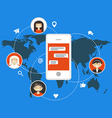 Social media and network concept in flat design vector image vector image