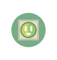socket outlet green energy block icon vector image
