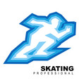 sportsman rides fast on ice skates vector image vector image