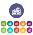 Three dollar bills set icons vector image vector image