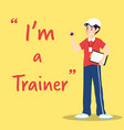 trainer character with clipboard and stopwatch vector image vector image