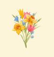 watercolor spring floral bouquet vector image
