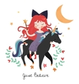 Whimsical girl on black unicorn vector image