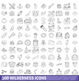100 wilderness icons set outline style vector image