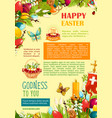 happy easter poster template with egg and flowers vector image