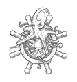 Angry octopus on ship helm sketch symbol vector image vector image