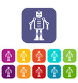 Artificial intelligence robot icons set flat