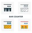 bar counter icon set four elements in diferent vector image
