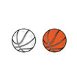 basketball hand drawn sketch and color vector image