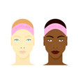 black and white girls faces vector image vector image