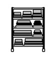 black sections silhouette of rack with pile towels vector image