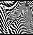 black white abstract striped background optical 3d vector image