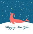 Bright Christmas card with fur seal vector image vector image
