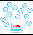Calendar of 2015 with technology concept design vector image
