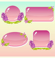 cartoon buttons with flowers and leaves for gui vector image vector image