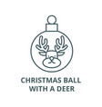 christmas ball with a deer line icon vector image vector image