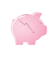 Cracked pink piggy bank vector image