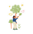 cute girl painting trees on wall with color paints vector image vector image