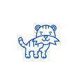 cute tiger line icon concept cute tiger flat vector image vector image