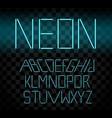 cyan glowing neon bar alphabet on transparent vector image vector image