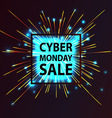 Cyber Monday discount fireworks vector image vector image