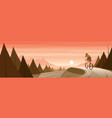 cyclist on a road in a forest and coast landscape vector image