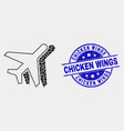 dotted aviation icon and grunge chicken vector image vector image