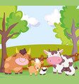 farm animals bull cow goat sheep fence trees vector image vector image