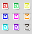 floppy icon sign Set of multicolored modern labels vector image vector image