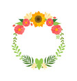 Floral wreath with bright flowers circle frame