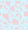 gentle blue pattern with pink roses silhouettes vector image