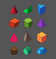 geometric shapes isometric set pyramidal red vector image vector image