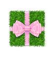 gift box 3d green grass box top view pink ribbon vector image