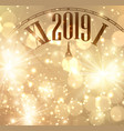 golden 2019 new year background with clock vector image